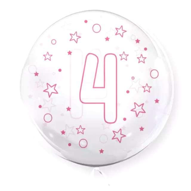 """Balon foliowy """"Cyfra 4 - różowa"""", przeźroczysty, Tuban, 18"""" RND"""