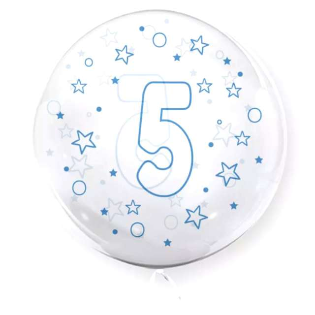 """Balon foliowy """"Cyfra 5 - niebieska"""", przeźroczysty, Tuban, 18"""" RND"""