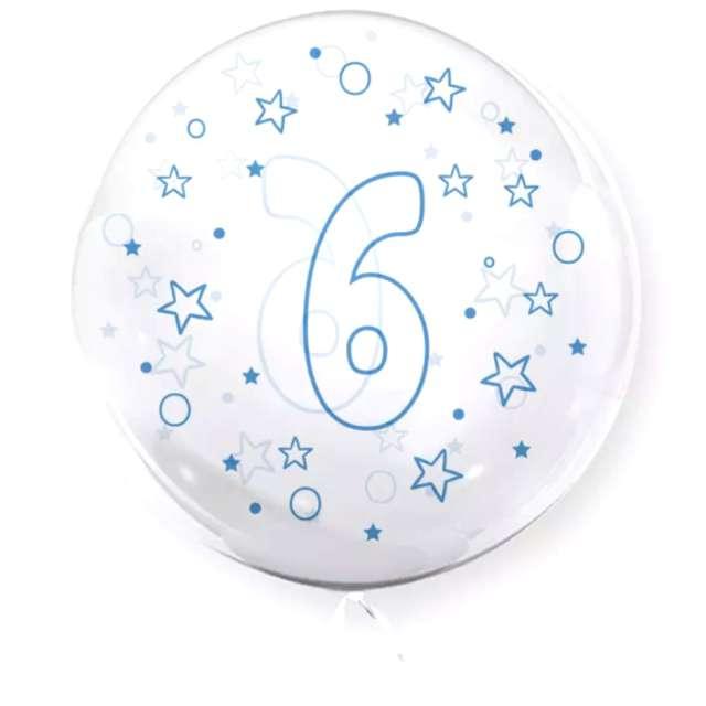 """Balon foliowy """"Cyfra 6 - niebieska"""", przeźroczysty, Tuban, 18"""" RND"""