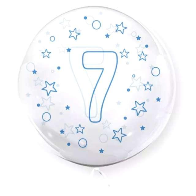 """Balon foliowy """"Cyfra 7 - niebieska"""", przeźroczysty, Tuban, 18"""" RND"""