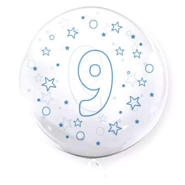 """Balon foliowy """"Cyfra 9 - niebieska"""", przeźroczysty, Tuban, 18"""" RND"""