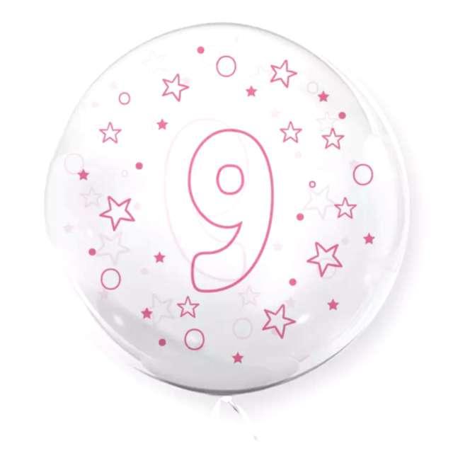 """Balon foliowy """"Cyfra 9 - różowa"""", przeźroczysty, Tuban, 18"""" RND"""