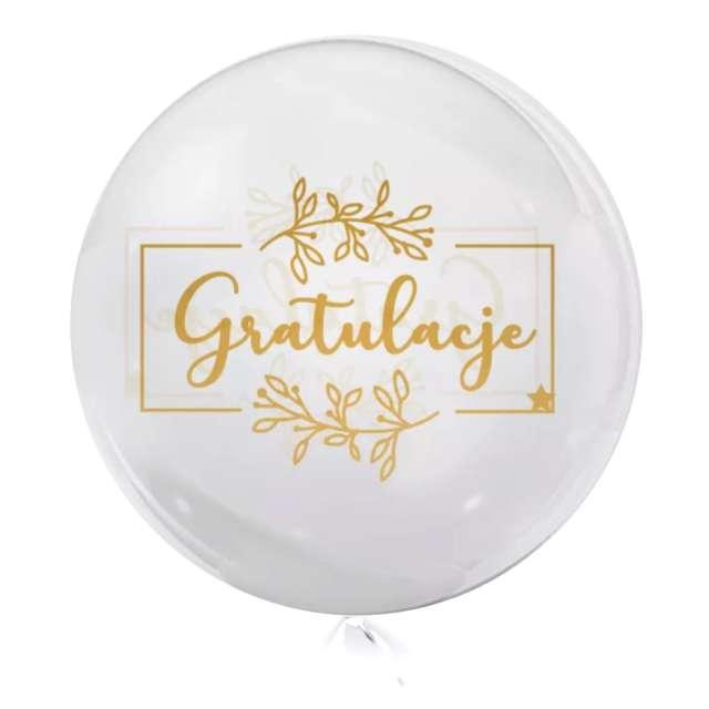 Balon foliowy Gratulacje - kolor złoty przeźroczysty Tuban 18 RND
