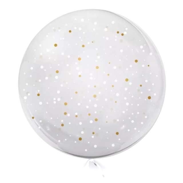 Balon foliowy Kropki biało-złote przeźroczysty Tuban 18 RND