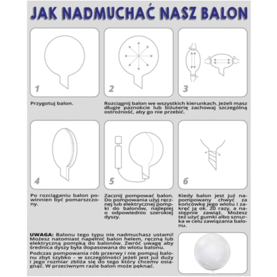 Balon foliowy Cyfra 6 - różowa przeźroczysty Tuban 18 RND
