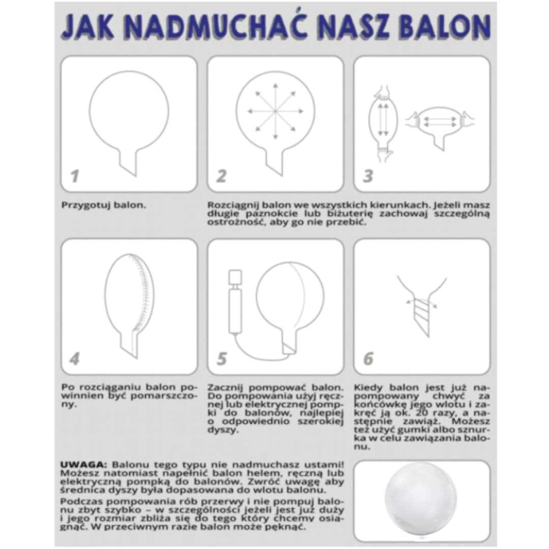 Balon foliowy Listki białe przeźroczysty Tuban 18 RND