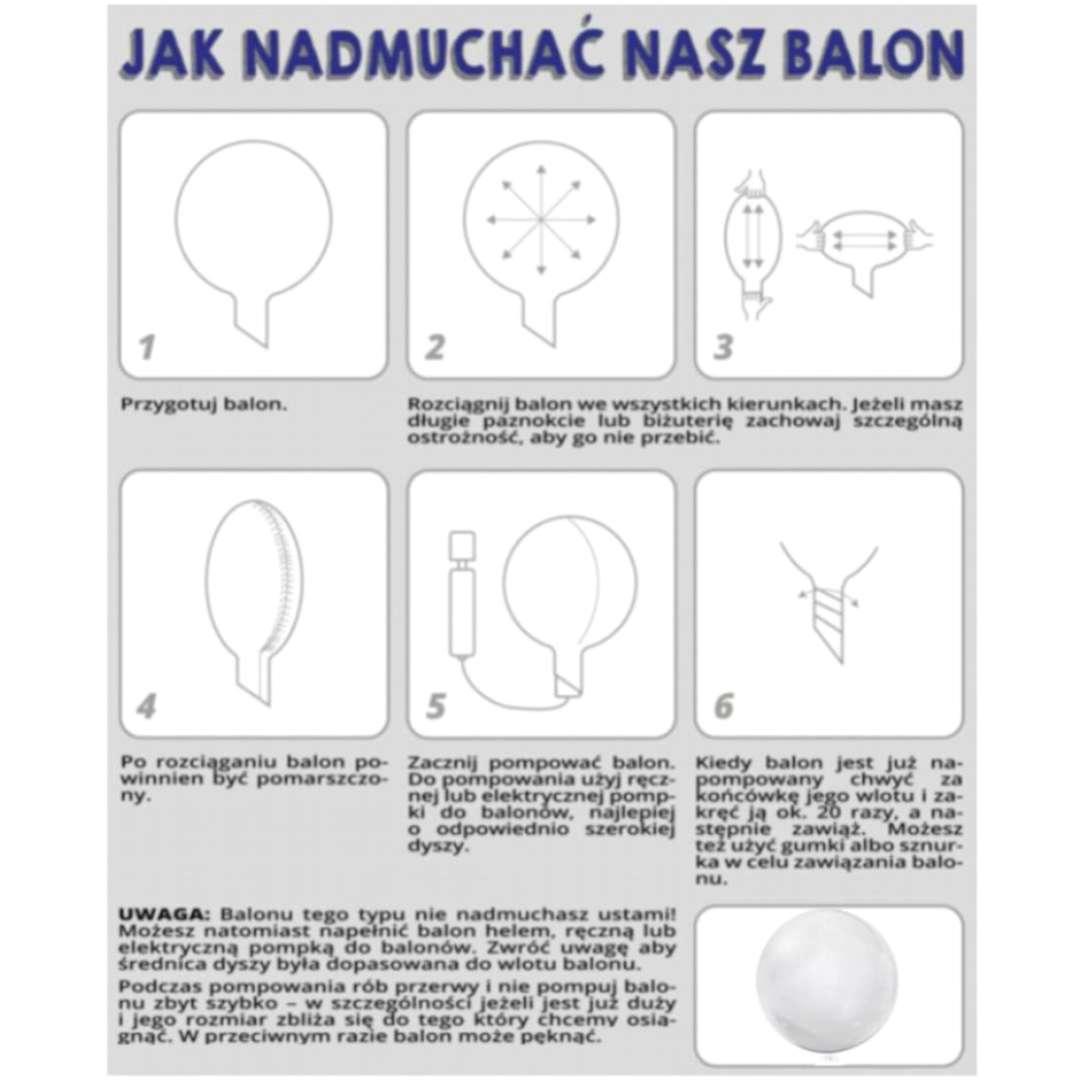 Balon foliowy Gratulacje - kolor biały przeźroczysty Tuban 18 RND