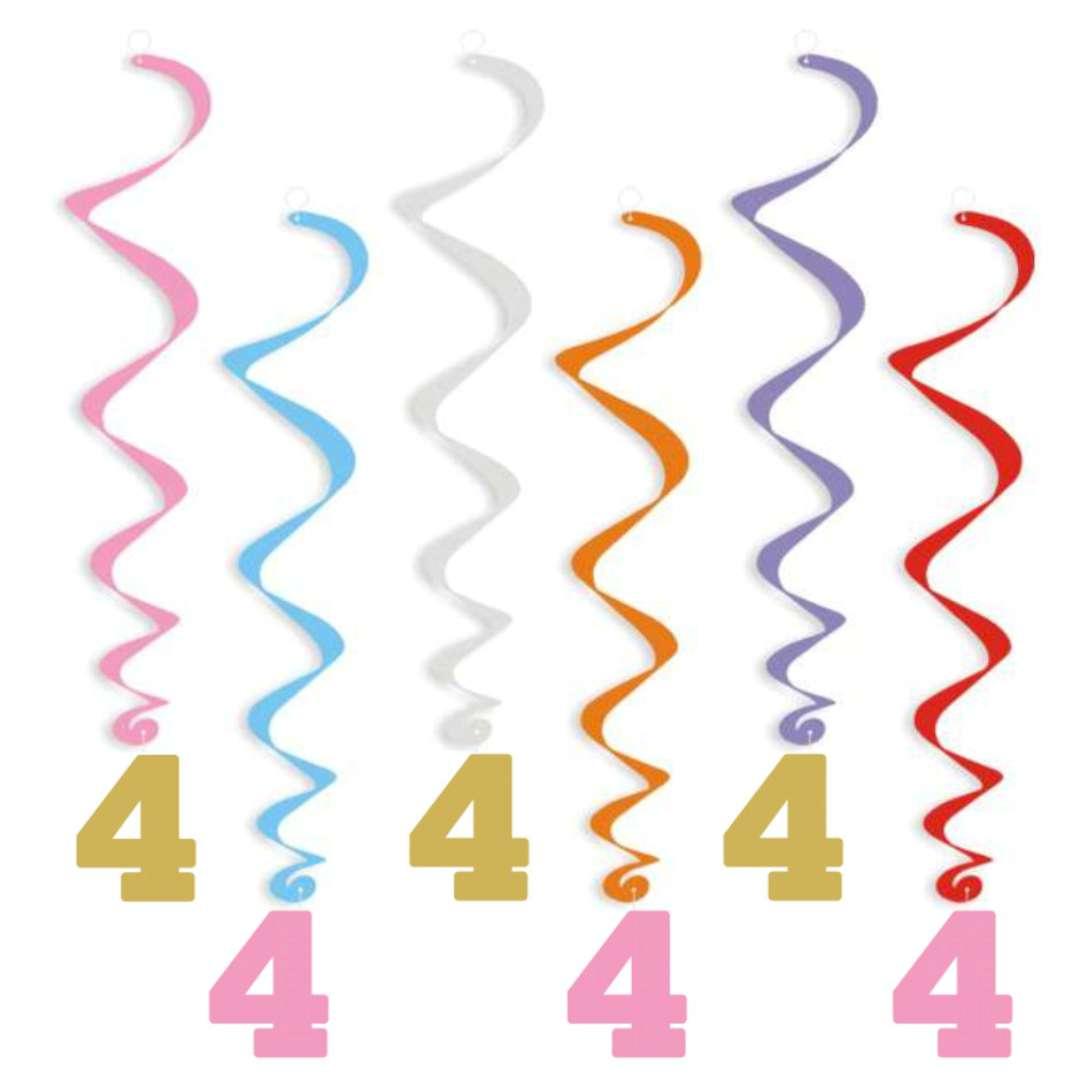 """Świderki wiszące """"Urodziny 4"""", złoto-różowe, 6 szt"""