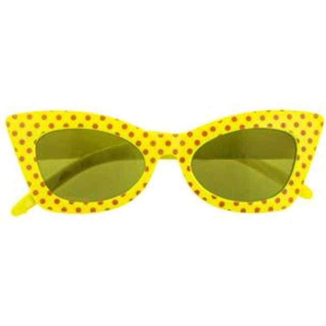 Okulary party Modne groszki żółte Funny Fashion