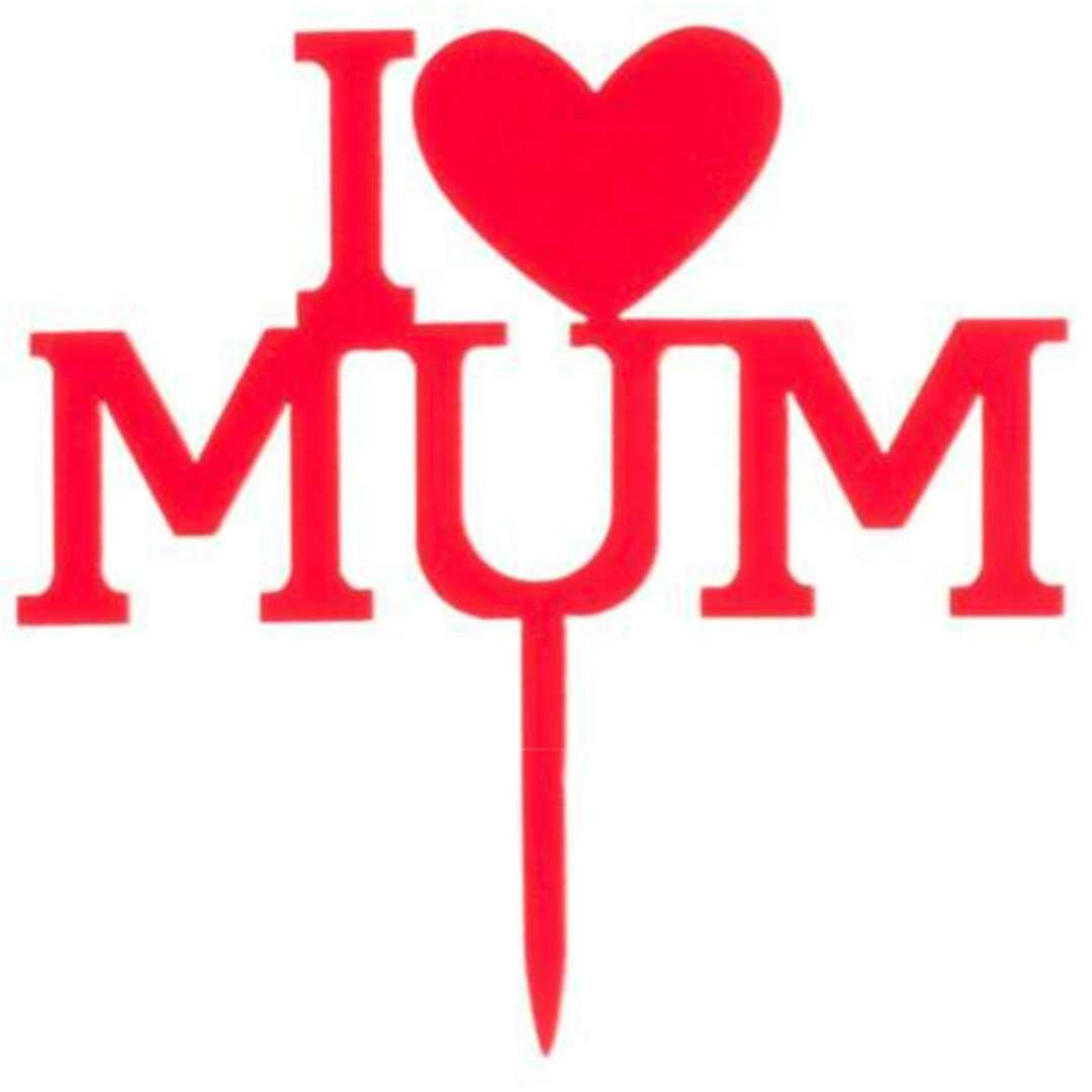 Dekoracja Topper na Dzień Matki - I love mum czerwony DeKora 12cm