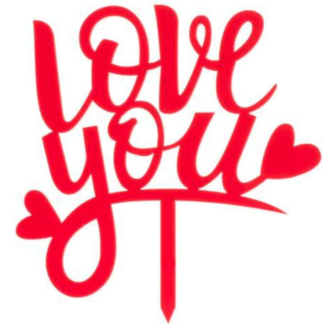 Dekoracja Topper - Love you czerwony DeKora 135cm