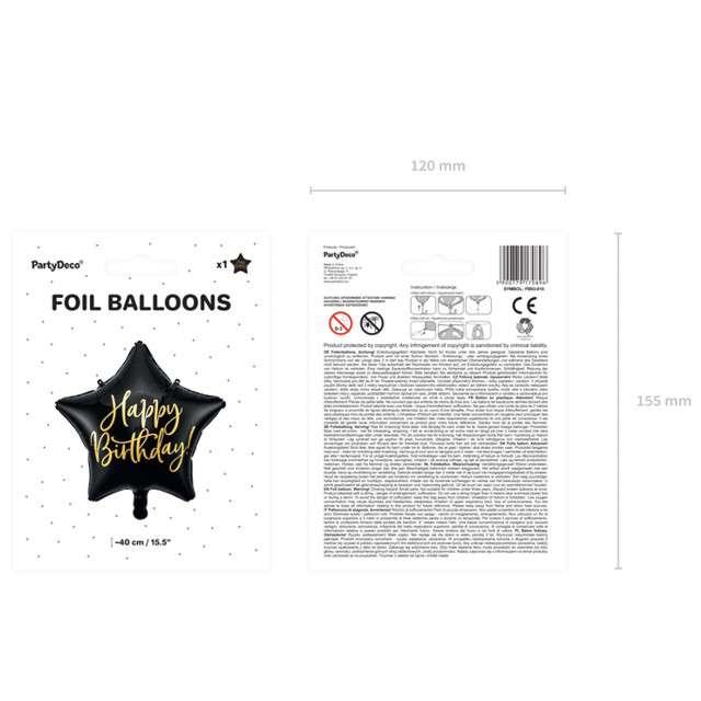 Balon foliowy Gwiazda-Happy Birthday czarny PartyDeco155 STR