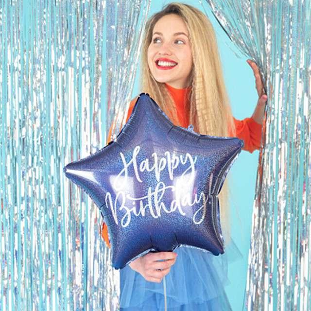 Balon foliowy Gwiazda-Happy Birthday niebieski PartyDeco155 STR