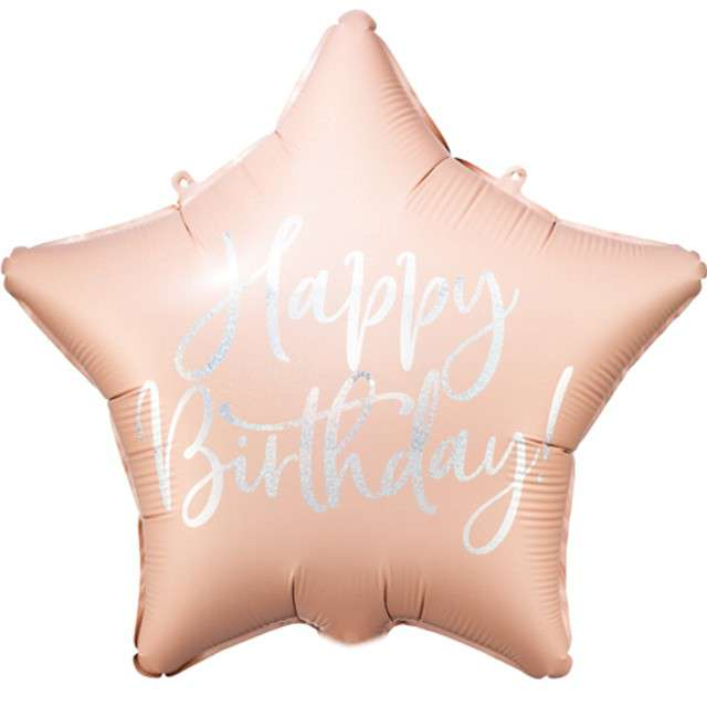 Balon foliowy Gwiazda-Happy Birthday różowy PartyDeco155 STR