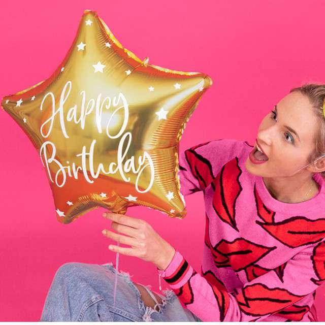 Balon foliowy Gwiazda-Happy Birthday złoty PartyDeco155 STR