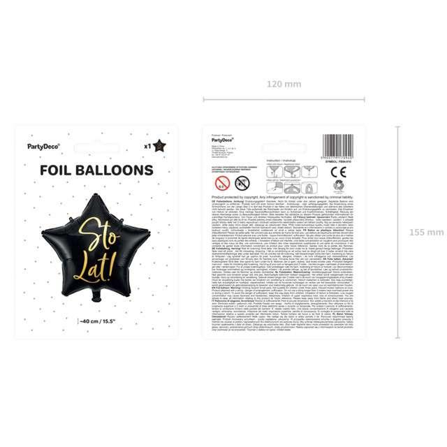 Balon foliowy Gwiazda-Sto lat czarny PartyDeco155 STR