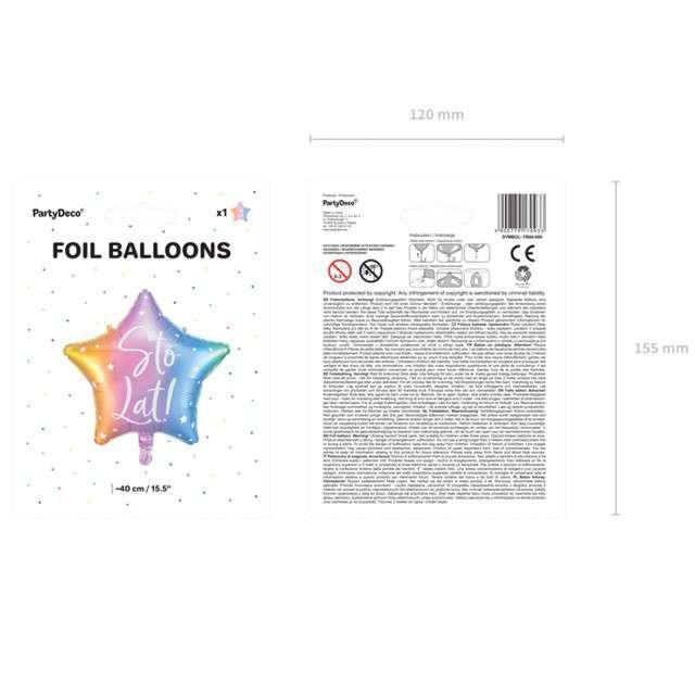 Balon foliowy Gwiazda-Sto lat tęczowy PartyDeco155 STR