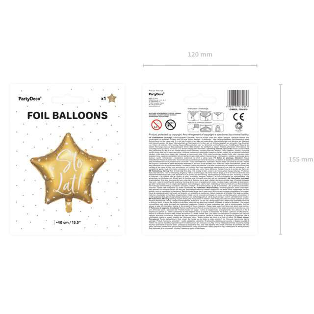 Balon foliowy Gwiazda-Sto lat złoty PartyDeco155 STR