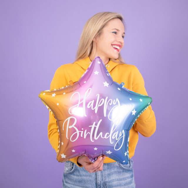 Balon foliowy Gwiazda-Happy Birthday tęczowy PartyDeco155 STR