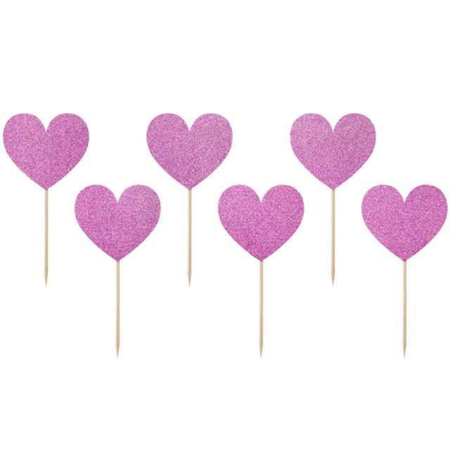 Pikery Brokatowe serca różowe 11 cm