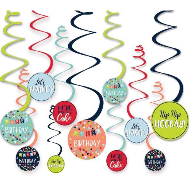 Dekoracja wisząca Świderki - Happy Birthday Amscan 12 szt