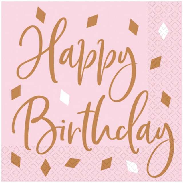 Serwetki Happy Birthday Amscan różowo-złoto 33 cm 16 szt