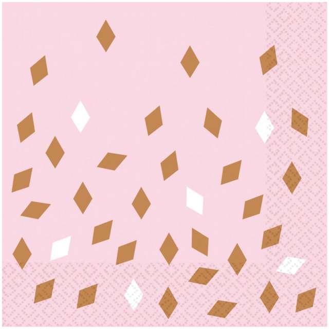 Serwetki Impreza Amscan różowo-złoto 33 cm 16 szt
