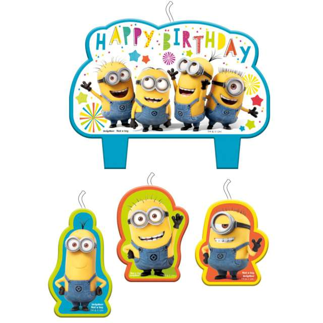 Świeczki na tort Minionki - Happy Birthday AMSCAN 4 szt
