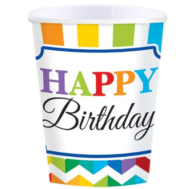 Kubeczki papierowe Urodziny - Happy Birthday kolorowe Amscan 250 ml 8 szt