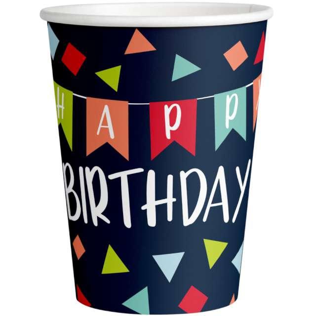 Kubeczki papierowe Happy Birthday Amscan 250 ml 8 szt