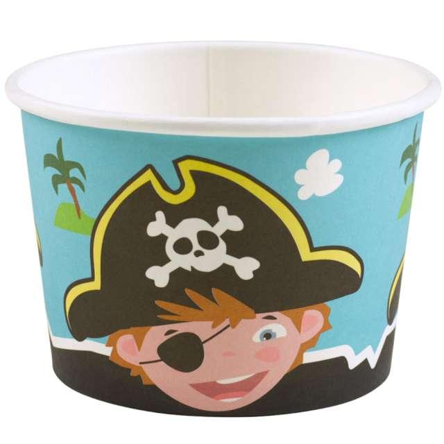 """Kubeczki do lodów """"Wyspa Piratów"""", kolorowe, Amscan, 270 ml, 8 szt"""