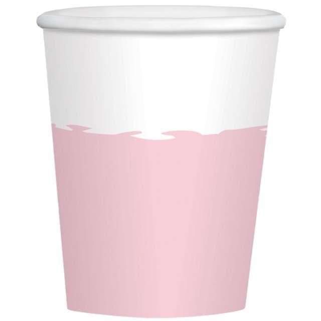 """Kubeczki papierowe """"Impreza"""", różowo - biały, Amscan, 250 ml, 8 szt"""