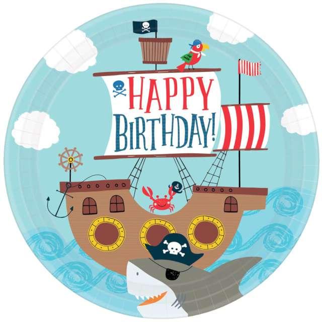 Talerzyki papierowe Pirat - Happy Birthday AMSCAN 23 cm 8 szt