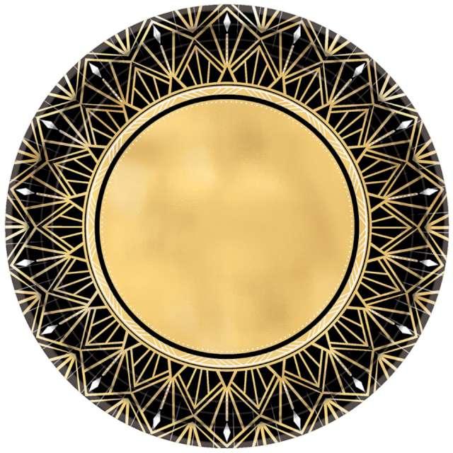 """Talerzyki papierowe """"Impreza Glamour"""", złote, AMSCAN, 27 cm, 8 szt"""