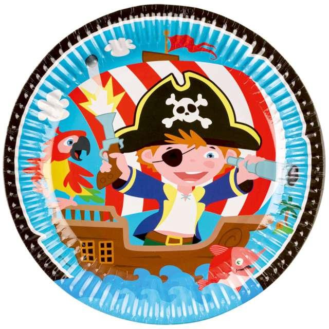 """Talerzyki papierowe """"Wyspa Piratów"""", AMSCAN, 23 cm, 8 szt"""