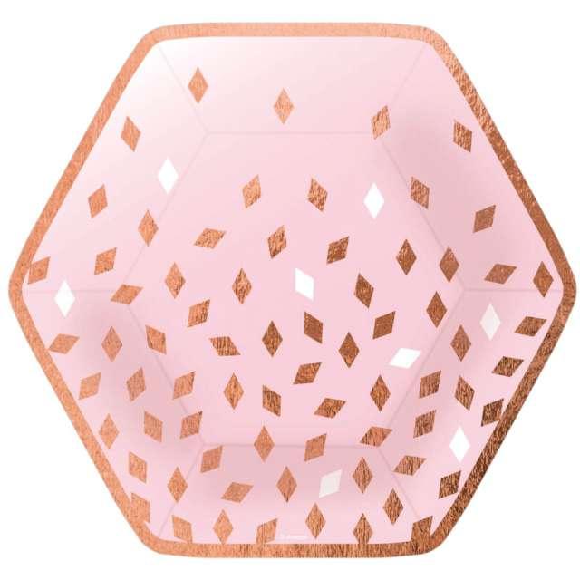 Talerzyki papierowe Impreza - różowo-złota AMSCAN 23 cm 8 szt