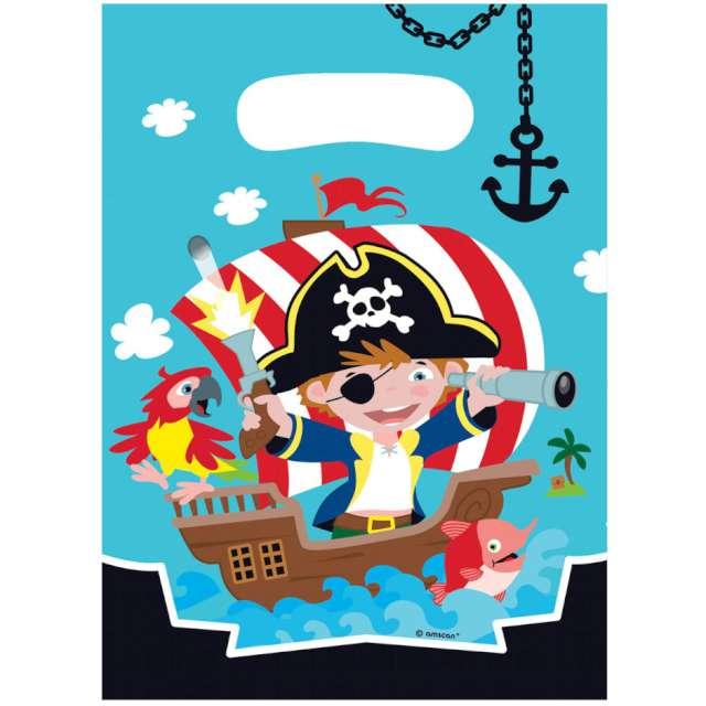 """Torebki foliowe """"Wyspa Piratów"""", AMSCAN, 23x16 cm, 8 szt"""