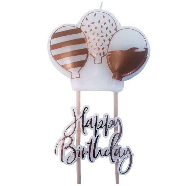 """Świeczki na tort """"Happy Birthday"""", różowe złoto, AMSCAN, 11 cm"""