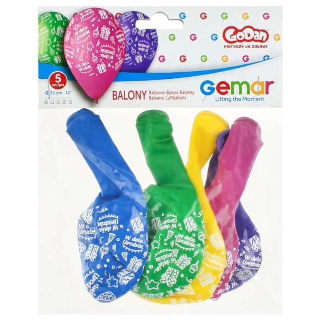 Balony W dniu urodzin mix Gemar 12 5 szt