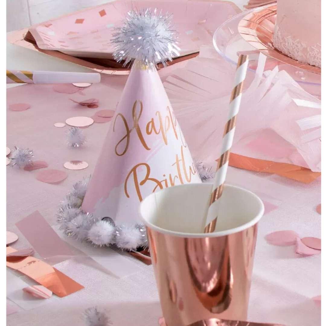 Trąbki papierowe Szampańska Impreza różowe-złoto AMSCAN 8 szt