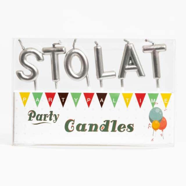 Świeczki na tort Sto Lat srebrne PartyPal