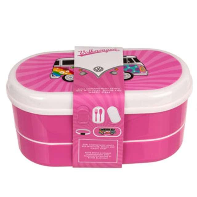 "Pudełko na lunch ""VWT1 Bus - Summer Love"", biało-różowe, Kemiś, 17x8 cm"