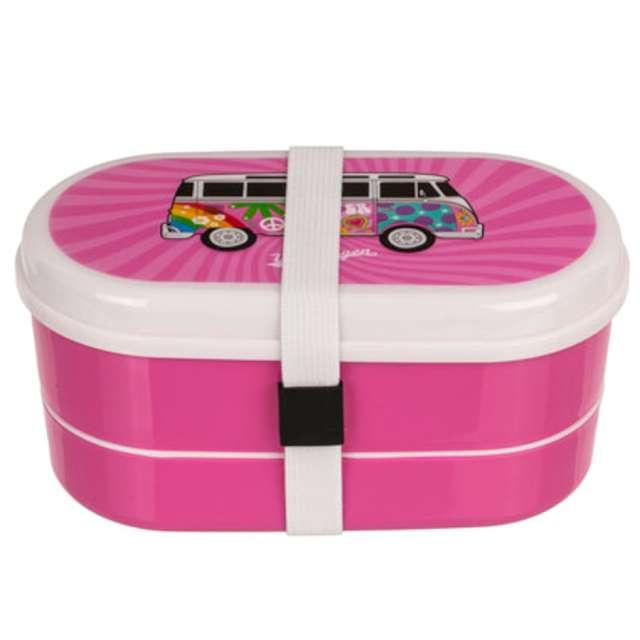Pudełko na lunch VWT1 Bus - Summer Love biało-różowe Kemiś 17x8 cm