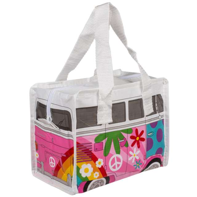 Torba na lunch VWT1 Bus - Summer Love biało-różowa Kemiś 21x16 cm