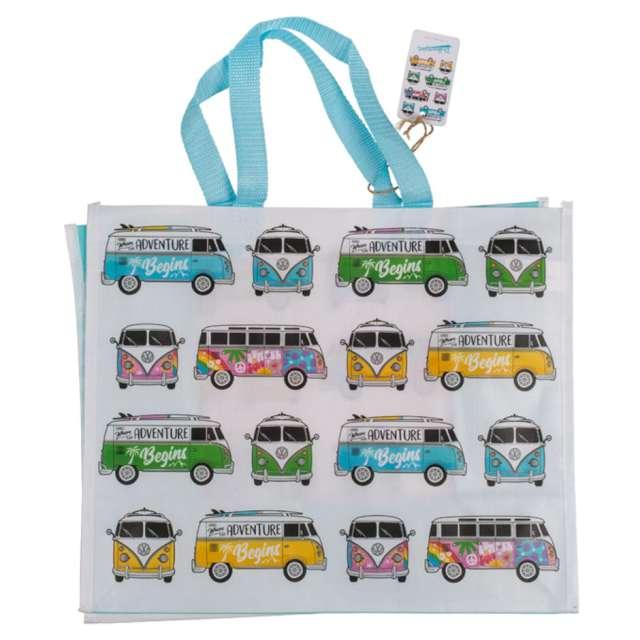 """Torba na zakupy """"VWT1 Bus - Summer Blue"""", biało-błękitna, Kemiś, 39x33 cm"""