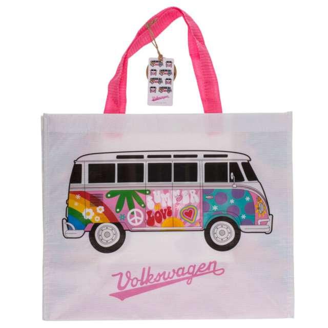 """Torba na zakupy """"VWT1 Bus - Summer Love"""", biało-różowa, Kemiś, 39x33 cm"""