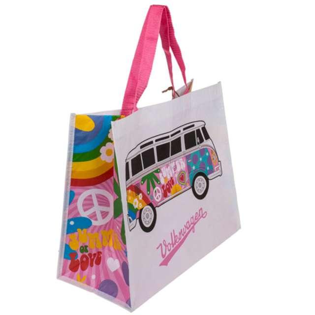 Torba na zakupy VWT1 Bus - Summer Love biało-różowa Kemiś 39x33 cm