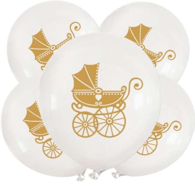 Balony Chrzest Święty - wózek białe DekoracjePolska 5 szt