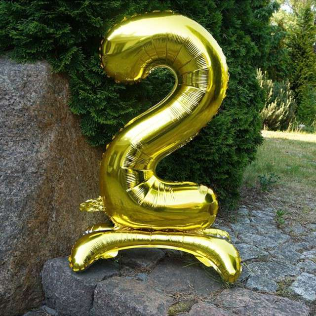 Balon foliowy Cyfra 2 stojąca złota DekoracjePolska 30 SHP