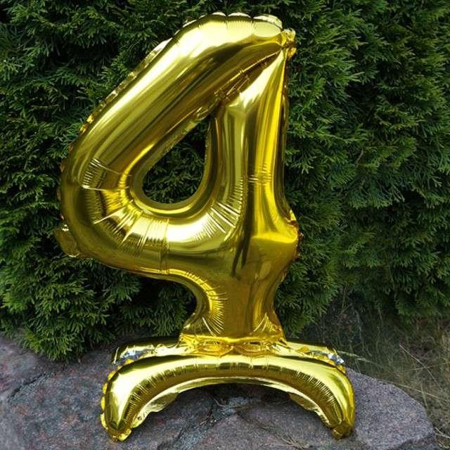 Balon foliowy Cyfra 4 stojąca złota DekoracjePolska 15 SHP